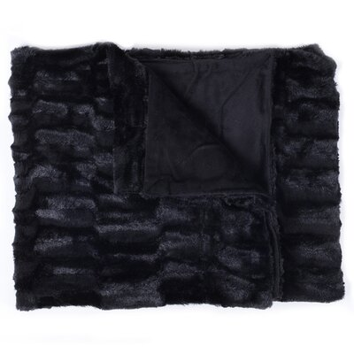 Box Decorative Reversible Faux Fur and Mink Throw Color: Black