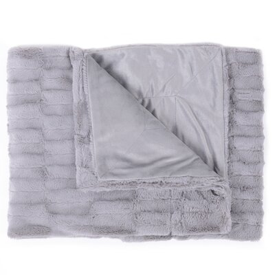 Box Decorative Reversible Faux Fur and Mink Throw Color: Silver