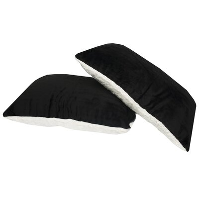 Ultra Soft Reversible Faux Mink and Sherpa Throw Pillow Color: Black