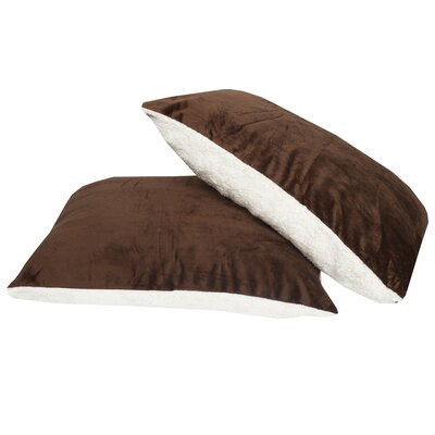 Ultra Soft Reversible Faux Mink and Sherpa Throw Pillow Color: Brown