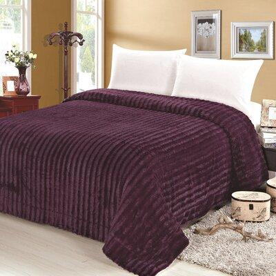 Rib Pattern Soft Plush Faux Mink Fur Throw Blanket Size: Twin, Color: Purple