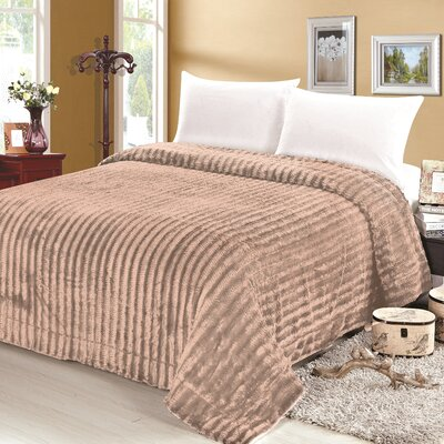 Rib Pattern Soft Plush Faux Mink Fur Throw Blanket Size: Full/Queen, Color: Taupe