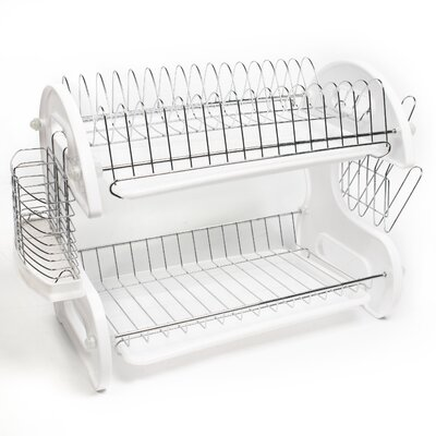 Home Basics 5 Piece 2 Tier Kitchen Sink Dish Drainer Set 2-TIER-DD-White