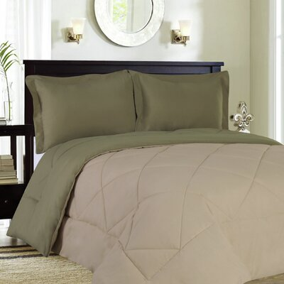 Bettencourt 3 Piece Reversible Comforter Set Size: King, Color: Sage / Cream