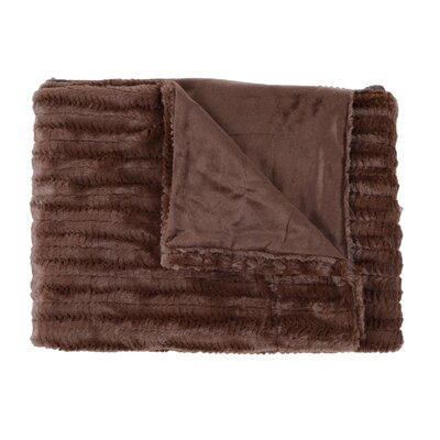 Rib Decorative Reversible Faux Fur and Mink Throw Blanket Color: Chocolate