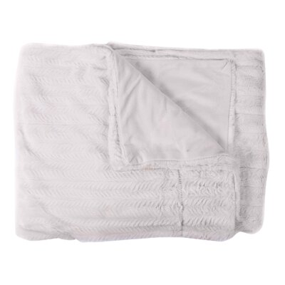 Rib Decorative Reversible Faux Fur and Mink Throw Blanket Color: Ivory