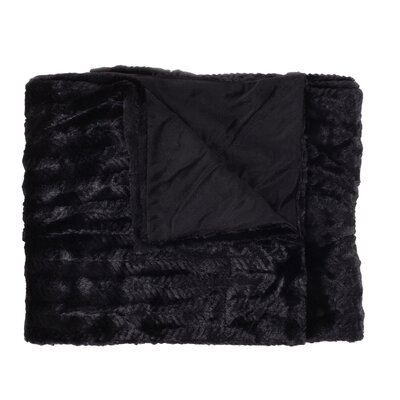 Rib Decorative Reversible Faux Fur and Mink Throw Blanket Color: Black