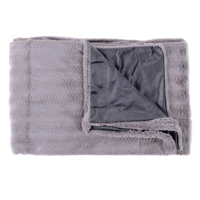 Rib Decorative Reversible Faux Fur and Mink Throw Blanket Color: Silver