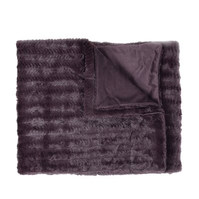Rib Decorative Reversible Faux Fur and Mink Throw Blanket Color: Plum