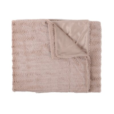 Rib Decorative Reversible Faux Fur and Mink Throw Blanket Color: Taupe