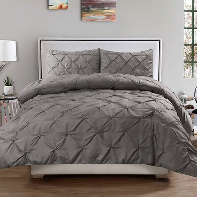 Luxury 3 Piece Duvet Cover Set Color: Gray, Size: Queen