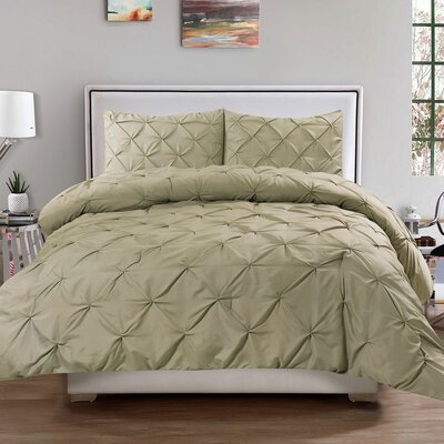 Luxury 3 Piece Duvet Cover Set Size: Queen, Color: Sage