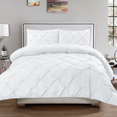 Luxury 3 Piece Duvet Cover Set Color: White, Size: Queen