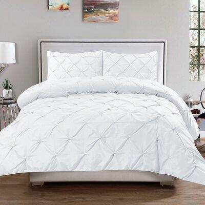 Luxury 3 Piece Duvet Cover Set Color: White, Size: King