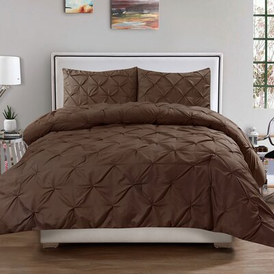 Luxury 3 Piece Duvet Cover Set Size: Queen, Color: Chocolate