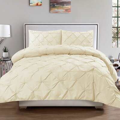 Luxury 3 Piece Duvet Cover Set Color: Cream, Size: Queen