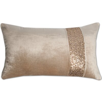 Luxury Zippered Sequin Stripe Decorative Pillow Cover Color: Beige