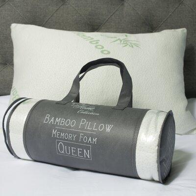 Hypoallergenic Rayon from Bamboo and Carry Bag Memory Foam Pillow Size: Queen