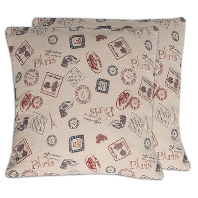 Paris Cafe Stamps Decorative Cotton Throw Pillow