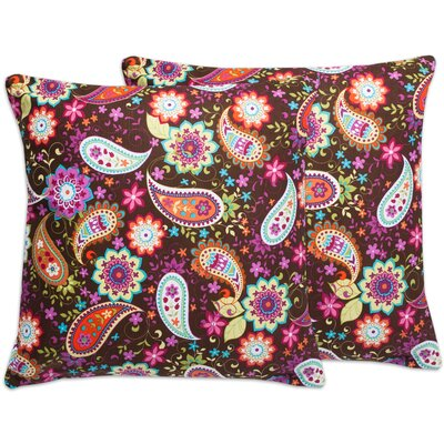 Floral Paisley Cotton Throw Pillow Color: Brown