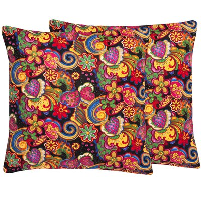 Floral Paisley Cotton Throw Pillow Color: Black