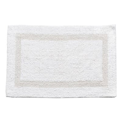 100% Cotton Soft 2 Sided Reversible Bath Mat Color: White