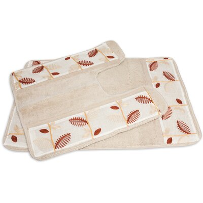 Alysia 2 Piece Leaf Banded Bath Rug Set