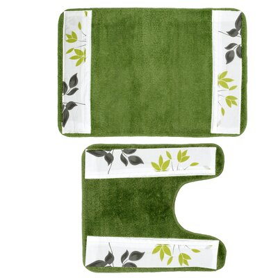 Mayan 2 Piece Leaf Banded Bath Rug Set