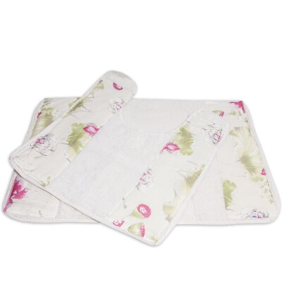 Flower Haven Bath Contour Toilet Commode Rug