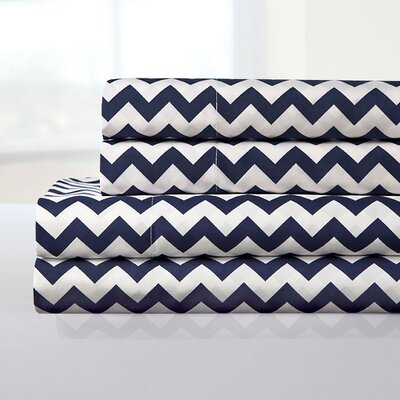 Ronnie Sheet Set Color: Navy, Size: Queen