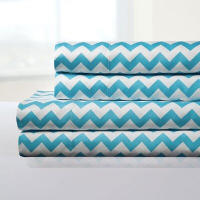 Ronnie Sheet Set Color: Aqua, Size: Queen