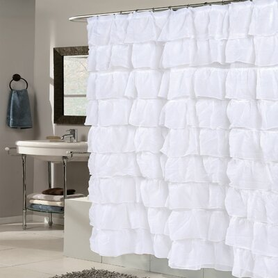 Crushed Voile Ruffled Tier Shower Curtain Color: White