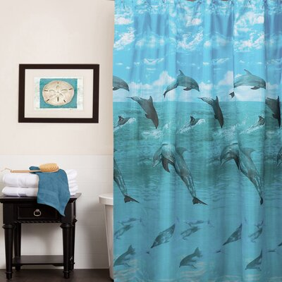 Dolphins in the Ocean Print Shower Curtain