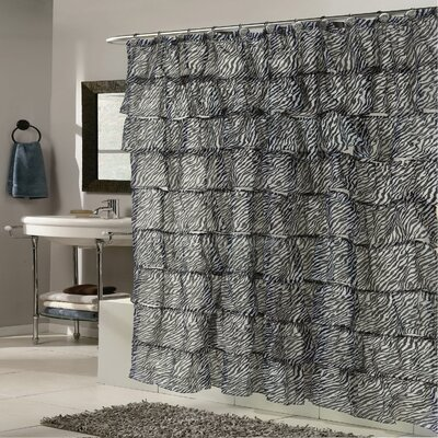 Zebra Crushed Voile Ruffled Tier Shower Curtain
