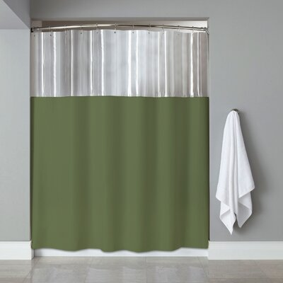 Vinyl See Through Bath Shower Curtain Color: Sage