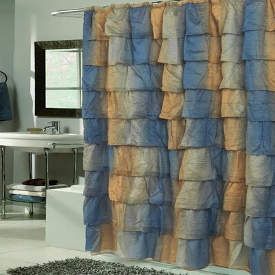 Crushed Voile Ruffled Tier Shower Curtain Color: Umber