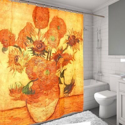 Sunflowers by Van Gogh Printed Water Resistant Shower Curtain