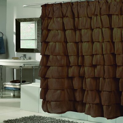 Crushed Voile Ruffled Tier Shower Curtain Color: Brown