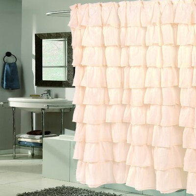 Crushed Voile Ruffled Tier Shower Curtain Color: Ivory