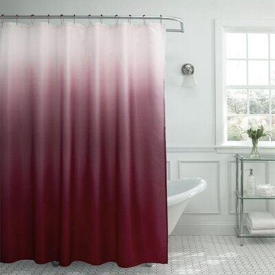 13 Piece Ombre Waffle Weave Shower Curtain Set Color: Red