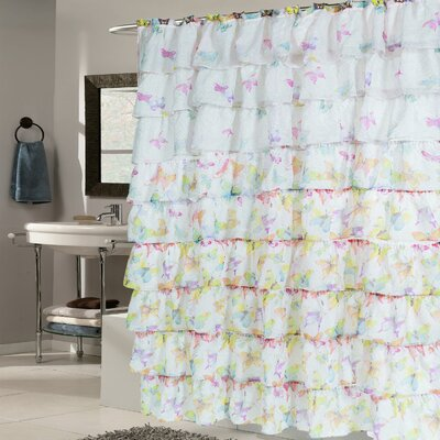 Butterfly Crushed Voile Ruffled Tier Shower Curtain