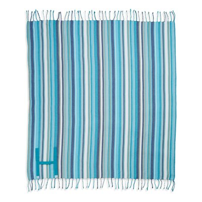 Hand Made Fringed Roll Up Beach Cotton Throw Color: Turquoise