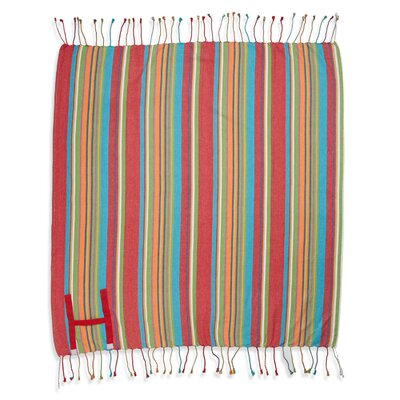 Hand Made Fringed Roll Up Beach Cotton Throw Color: Red