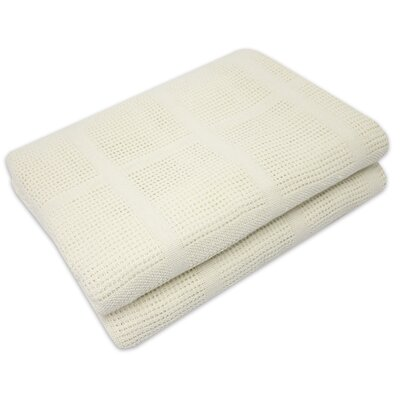 Cozy All Season Cotton Knit Blanket Color: Ivory, Size: Full/Queen