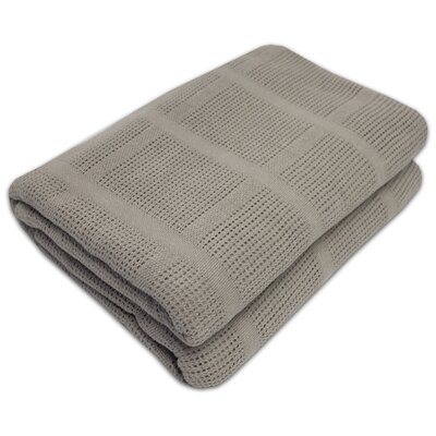 Cozy All Season Cotton Knit Blanket Color: Silver, Size: Full/Queen