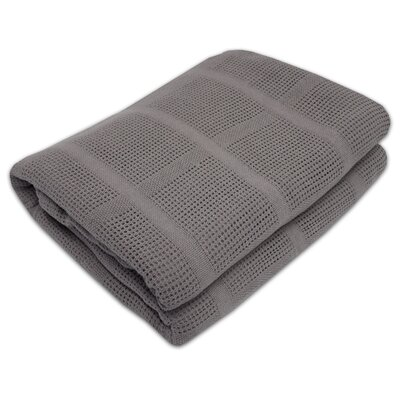 Cozy All Season Cotton Knit Blanket Color: Gray, Size: Full/Queen