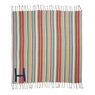 Hand Made Fringed Roll Up Beach Cotton Throw Color: Navy