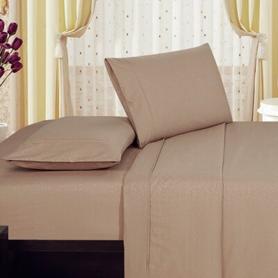 Plaza Home Soft 1800 Series Collection Embossed Vine Sheet Set Size: King, Color: Taupe
