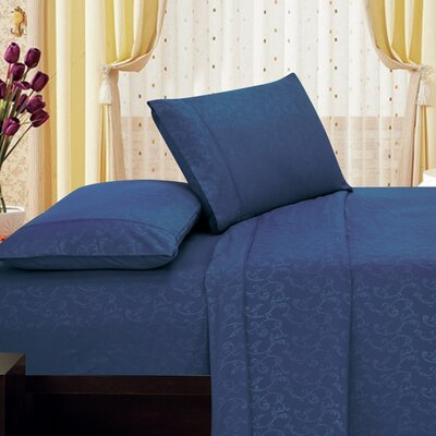 Plaza Home Soft 1800 Series Microfiber Sheet Set Size: King, Color: Navy