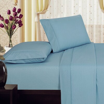 Plaza Home Soft 1800 Series Collection Embossed Vine Sheet Set Size: King, Color: Light Blue